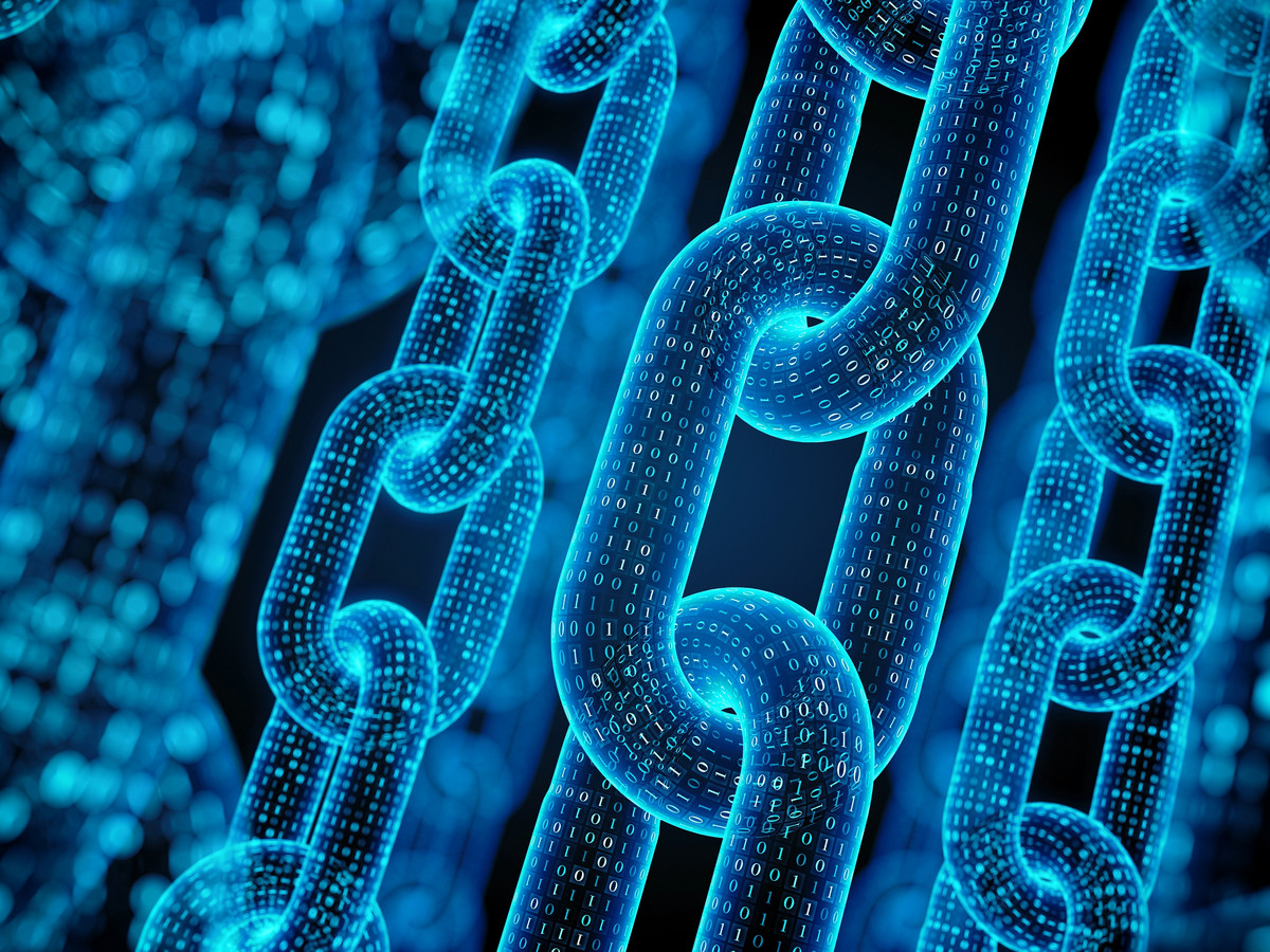Blue digital chains
