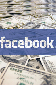 Facebook logo placed over dollars