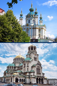 Pictures of churches in Kiev and Sofia