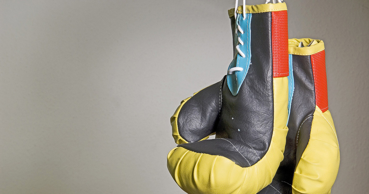 Picture of hung-up boxing gloves