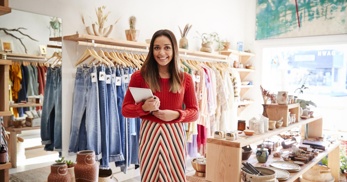 Pic of a woman with an MBA in marketing in her own store