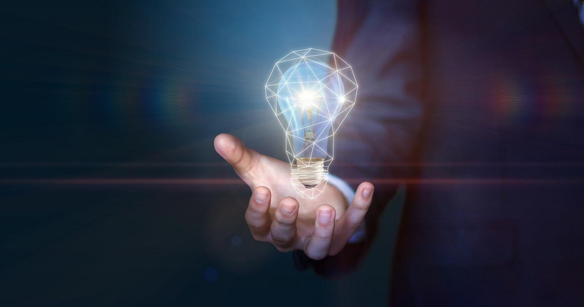 Lightbulb-hologram as symbol for an idea about digitization