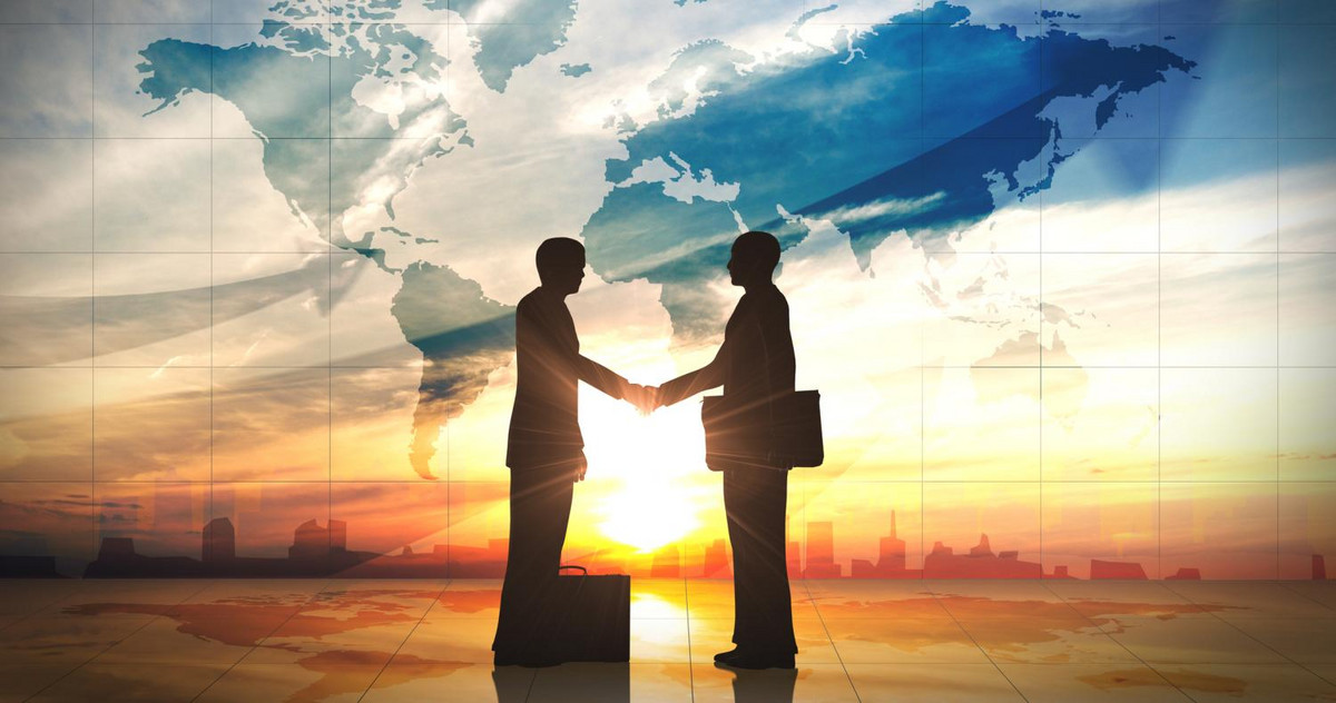 Two GEMBA business men shaking hands