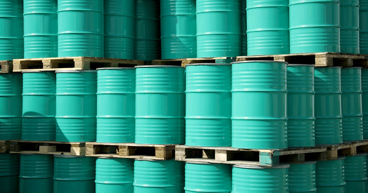 Picture of stacked oil barrels