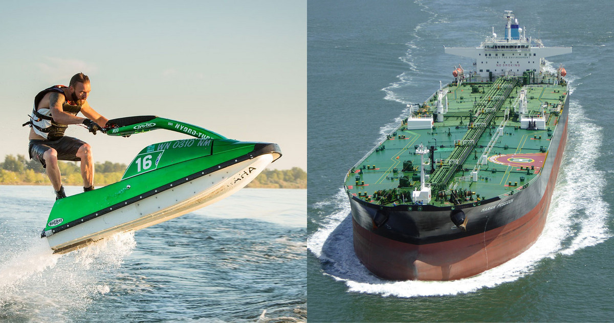 pic of jet ski and tanker as a startup comparison
