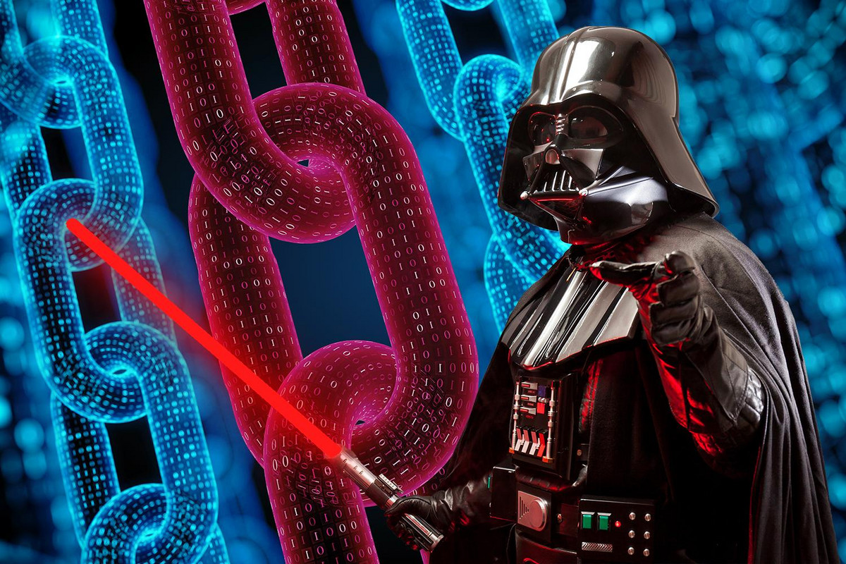 Darth Vader standing in front of a blockchain
