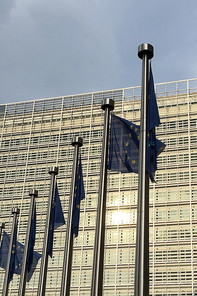 Picture of Europe-Flags in front of the European Commission