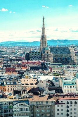 Skyline of Vienna with St. Stephen's Cathedral in the center