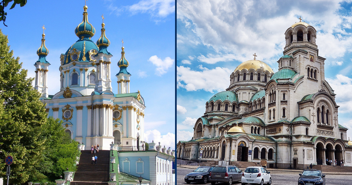 Picture of 2 churches in Kiev and Sofia