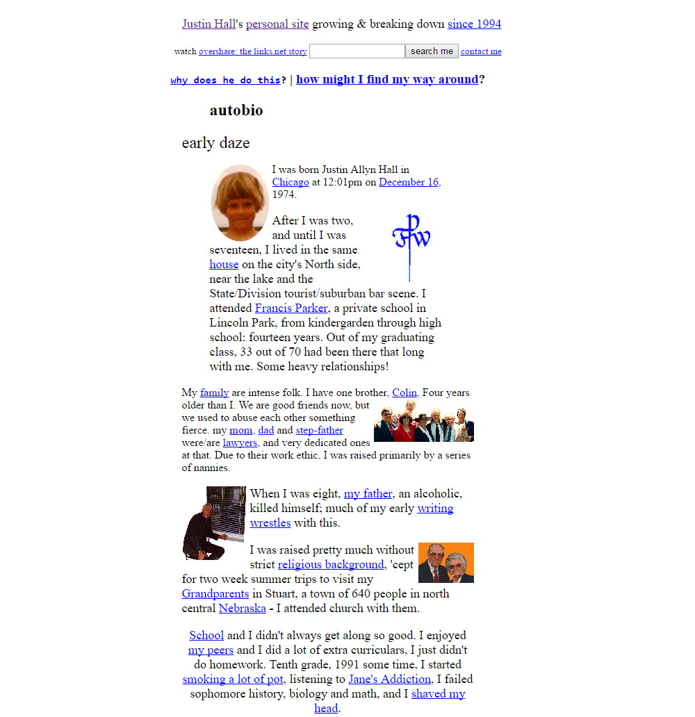 Picture of world's first blog with many tiny pictures and lots of text on a plain white website