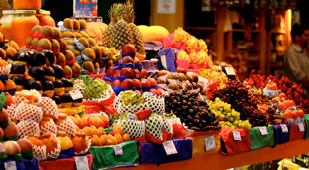 Various tropical fruits at a fruit stand